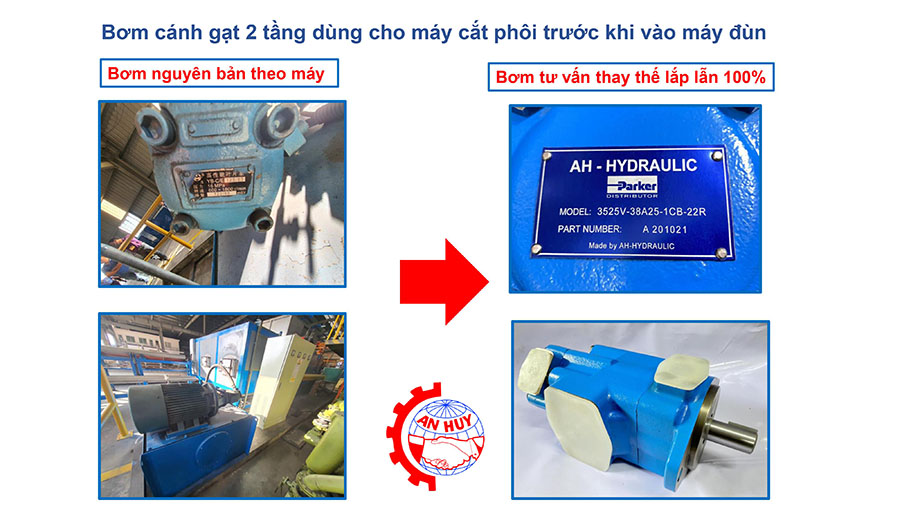 Bơm Cánh Gạt 2 Tầng Ah Sqp 43 60 38 86dd Lh 18 Lắp Cho Máy đùn Nhôm 2
